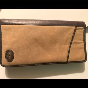 FOSSIL Passport TEXILE COWHIDE LEATHER WALLET